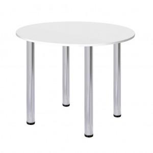 Стол круглый белый d 80 см. (хром ножки)